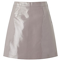 Miss Selfridge - Grey patent pu skirt