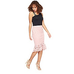 Miss Selfridge - Pink lace fishtail pencil skirt