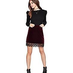 Miss Selfridge - Red velvet lace hem skirt