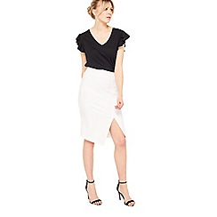 Miss Selfridge - White wrap d-ring pencil skirt