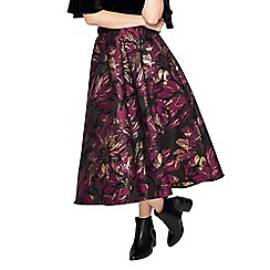 Miss Selfridge - Purple floral jacquard midi skirt