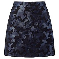 Miss Selfridge - Camo jacquard mini skirt blue