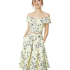 Miss Selfridge - Yellow floral print midi skirt