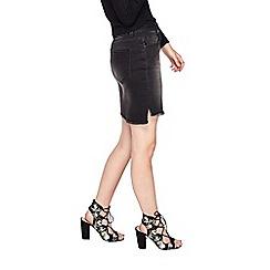 Miss Selfridge - Black step hem denim skirt
