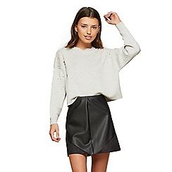 Miss Selfridge - Black polyurethane suede mini skirt