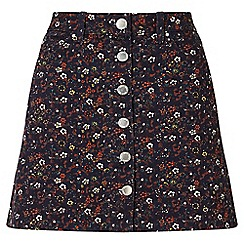 Miss Selfridge - Floral print denim mini skirt