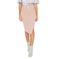 Miss Selfridge - Pink rouched drape pencil skirt