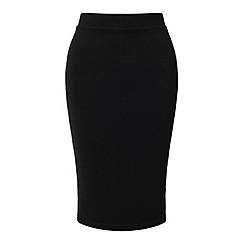 Miss Selfridge - Black ribbed pencil skirt