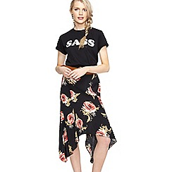 Miss Selfridge - Black floral hanky hem skirt