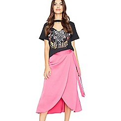 Miss Selfridge - Fuchsia wrap midi skirt