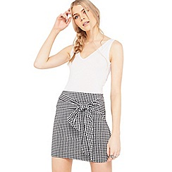 Miss Selfridge - Gingham poplin skirt