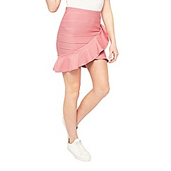 Miss Selfridge - Pink ruffle bandage skirt
