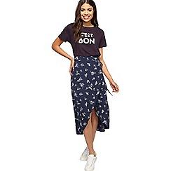 Miss Selfridge - Navy floral wrap midi skirt
