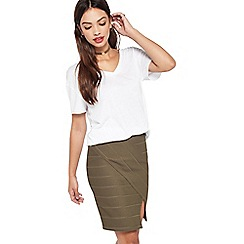 Miss Selfridge - Khaki split bandage skirt