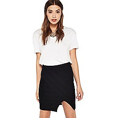 Miss Selfridge - Black split bandage skirt