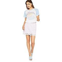 Miss Selfridge - Lilac lace aline skirt