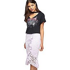 Miss Selfridge - Lilac ruffle pencil skirt