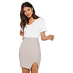 Miss Selfridge - Grey split front bandage skirt