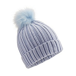 Miss Selfridge - Blue fur pom hat