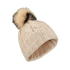Miss Selfridge - Nude/black fur pom beanie