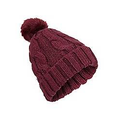 Miss Selfridge - Burgundy fur pom beanie hat