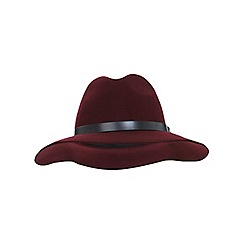 Miss Selfridge - Burgundy pu trim fedora hat