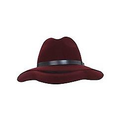 Miss Selfridge - Burgundy pu trim fedora hat