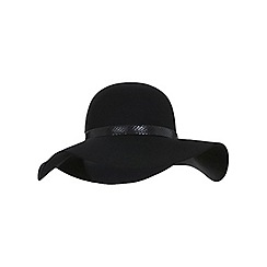 Miss Selfridge - Black snake trim floppy hat