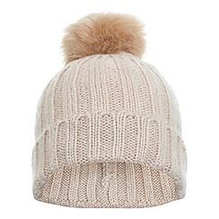 Miss Selfridge - Nude fur pom beanie hat