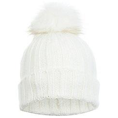 Miss Selfridge - White fur pom beanie hat