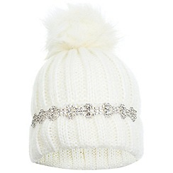 Miss Selfridge - White embellished beanie