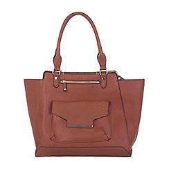 Miss Selfridge - Dark tan snake panel tote bag