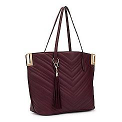 Miss Selfridge - Burgundy quilt tote bag