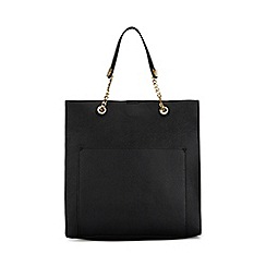 Miss Selfridge - Black chain handle tote bag