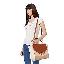 Miss Selfridge - Tan colour block bag