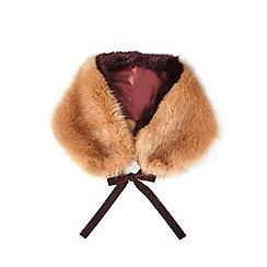Miss Selfridge - Ginger/plum faux fur neck tie
