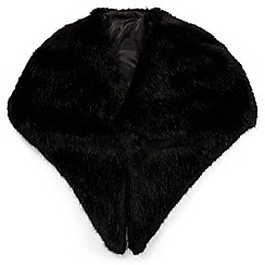 Miss Selfridge - Black oversized faux fur stole