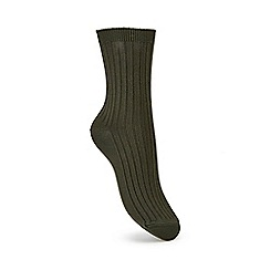 Miss Selfridge - Khaki rib ankle sock