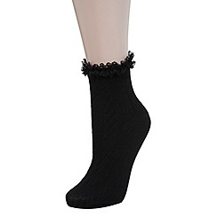 Miss Selfridge - Black lace frill sock