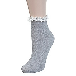 Miss Selfridge - Grey lace frill sock