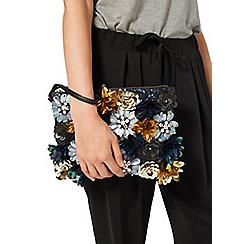 Miss Selfridge - Navy 3d flower clutch bag