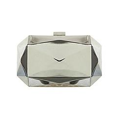 Miss Selfridge - Silver geo metal clutch bag