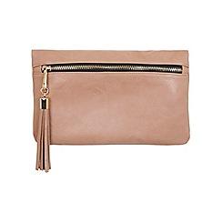 Miss Selfridge - Nude tassel clutch bag