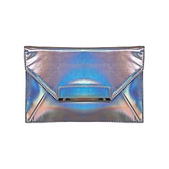 Miss Selfridge - Pewter hologram clutch bag