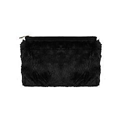 Miss Selfridge - Black faux fur clutch bag