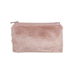 Miss Selfridge - Pink faux fur clutch bag