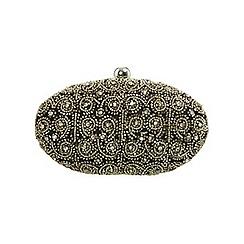 Miss Selfridge - Silver swirl oval clutch bag