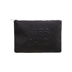 Miss Selfridge - Black slogan clutch bag