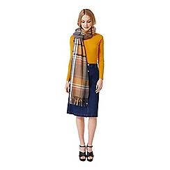 Miss Selfridge - Camel/grey check scarf