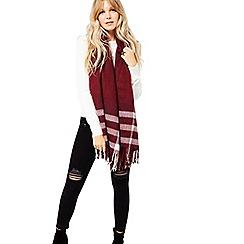 Miss Selfridge - Burgundy check scarf